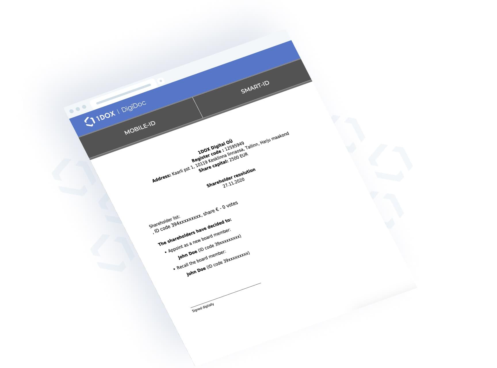 1DOX Digital - Dokumentide digiallkirjastamine